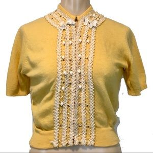 Buttercup Yellow Vintage 50s Beaded Cardigan XS/SM